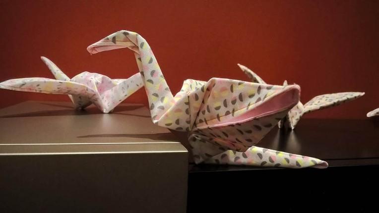 Stoffen origami kraanvogels